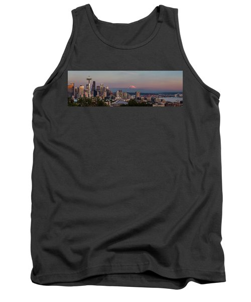 Tank Top featuring the photograph Seattle Skyline And Mt. Rainier Panoramic Hd by Adam Romanowicz