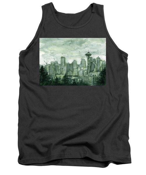 Seattle Skyline Watercolor Space Needle Tank Top