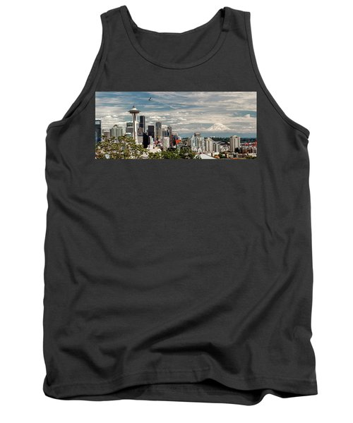 Seattle Space Needle With Mt. Rainier Tank Top by Tony Locke