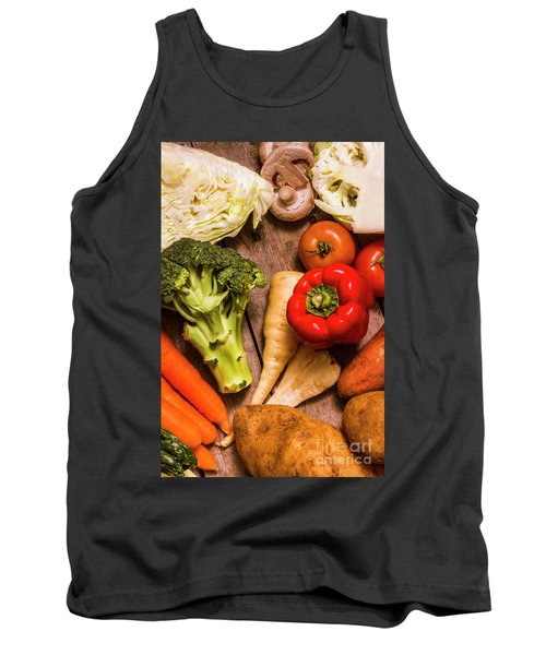 Selection Of Fresh Vegetables On A Rustic Table Tank Top