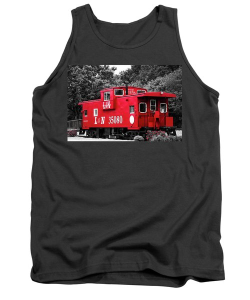 Tank Top featuring the photograph Selective Color Red Caboose by Parker Cunningham