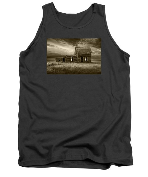 Sepia Tone Of Abandoned Prairie Farm House Tank Top