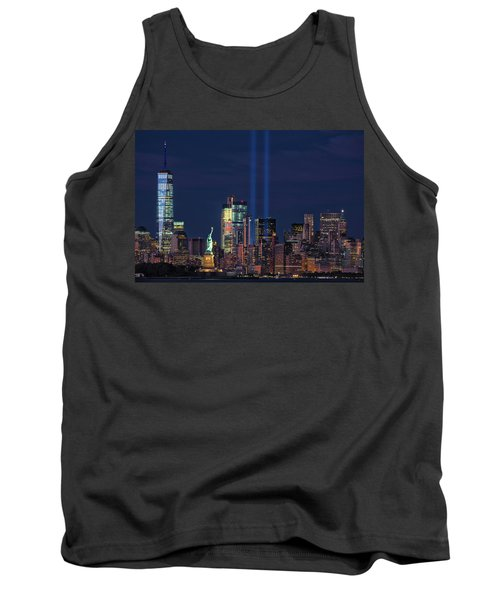 Tank Top featuring the photograph September 11tribute In Light by Emmanuel Panagiotakis