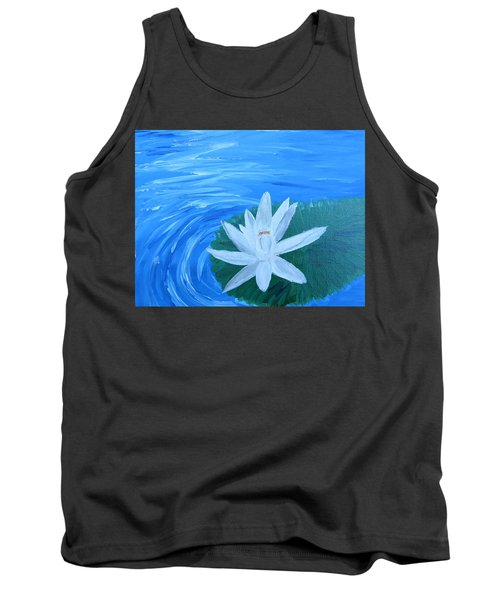 Serenity White Water Lily Tank Top