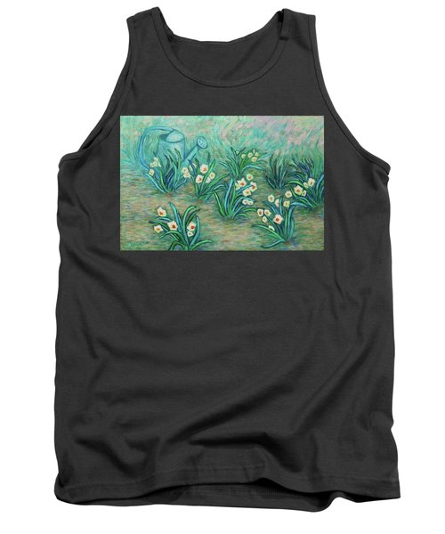 Tank Top featuring the painting Seven Daffodils by Xueling Zou