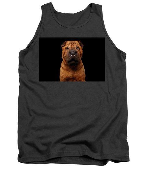 Sharpei Dog Isolated On Black Background Tank Top