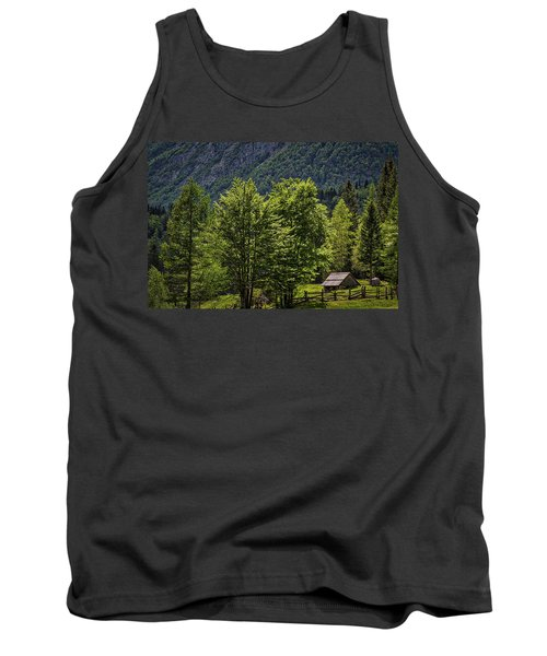 Tank Top featuring the photograph Shed In The Slovenian Alps by Stuart Litoff