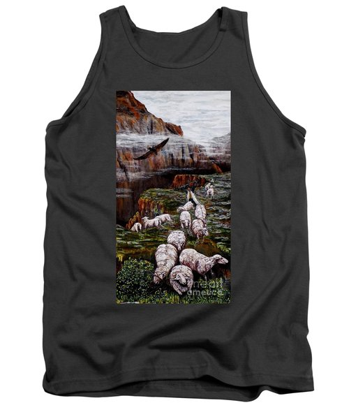 Tank Top featuring the painting Sheep In The Mountains  by Judy Kirouac