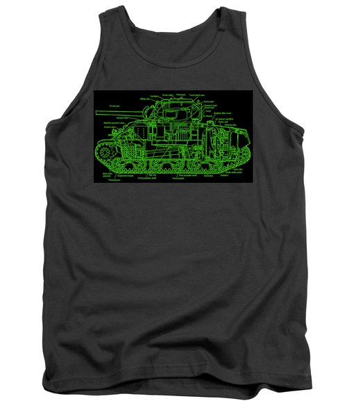 Tank Top featuring the drawing Sherman M4a4 Tank by Robert Geary