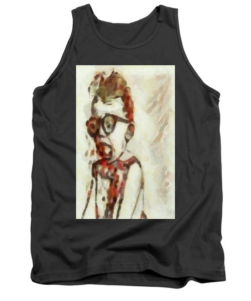 Tank Top featuring the painting Shocked Scared Screaming Boy With Curly Red Hair In Glasses And Overalls In Acrylic Paint As A Loose by MendyZ