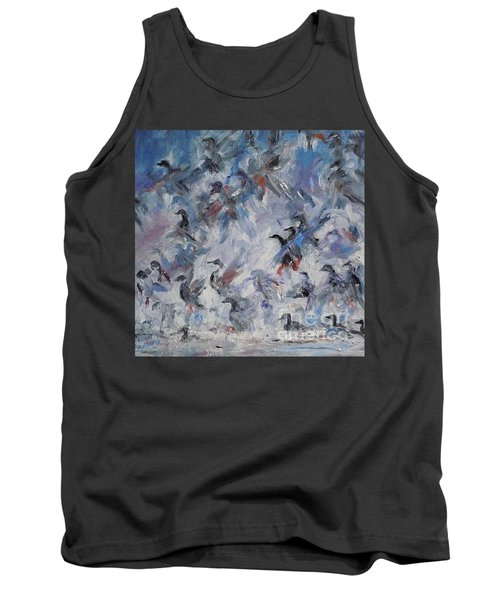 Tank Top featuring the painting Shots Fired by Ellen Anthony