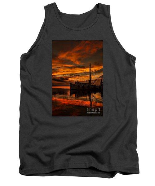 Shrimp Boat Sunset Tank Top