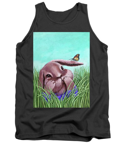 Tank Top featuring the painting Shy Bunny - Original Painting by Linda Apple