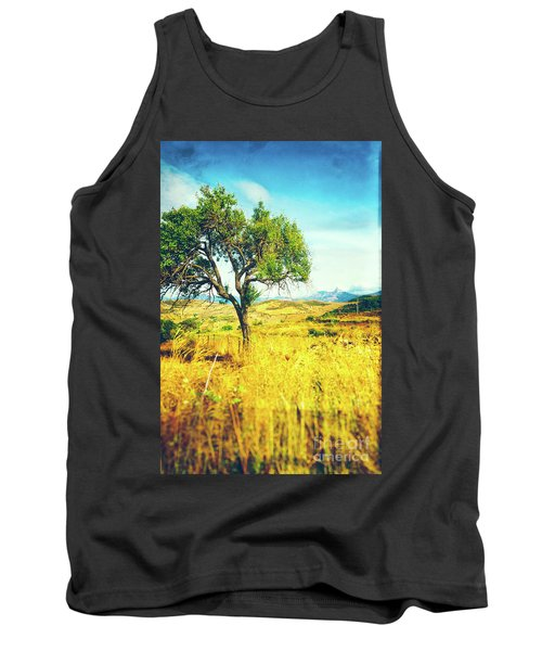 Tank Top featuring the photograph Sicilian Landscape With Tree by Silvia Ganora