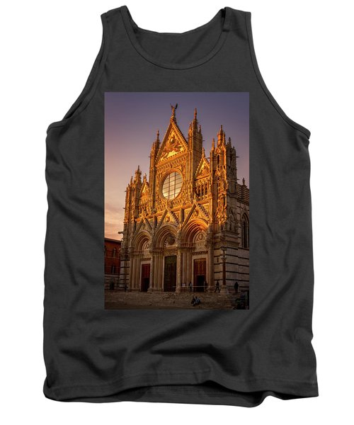 Tank Top featuring the photograph Siena Italy Cathedral Sunset by Joan Carroll