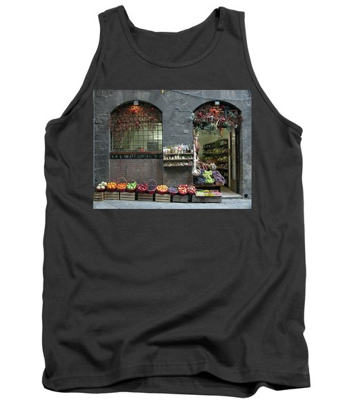 Tank Top featuring the photograph Siena Italy Fruit Shop by Mark Czerniec