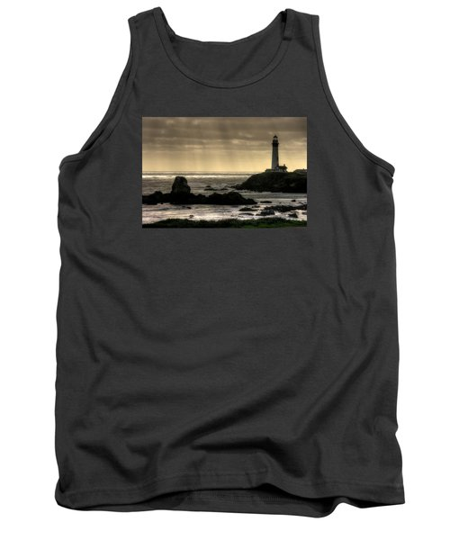 Silhouette Sentinel - Pigeon Point Lighthouse - Central California Coast Spring Tank Top by Michael Mazaika