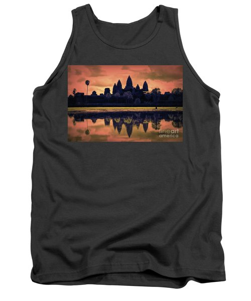 Silhouettes Angkor Wat Cambodia Mixed Media  Tank Top