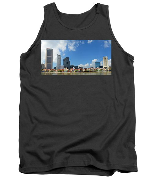 Tank Top featuring the digital art Singapore River Front by Eva Kaufman
