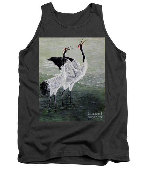 Tank Top featuring the painting Singing Cranes by Judy Kirouac