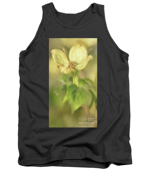 Tank Top featuring the digital art Single Dogwood Blossom In Evening Light by Lois Bryan