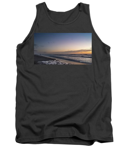 Single Man Walking On Beach With Sunset In The Background Tank Top