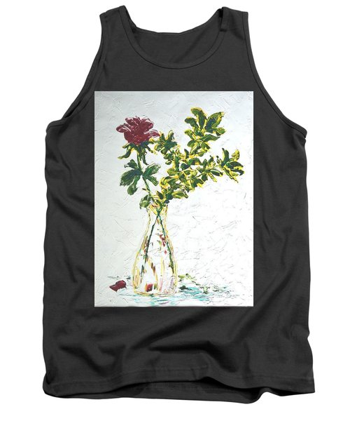 Single Red Rose Tank Top by Lynda Cookson