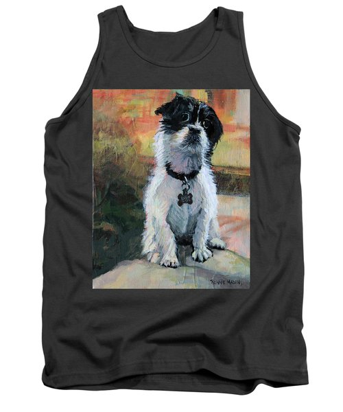 Sitting Pretty - Black And White Puppy Tank Top
