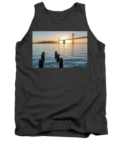 Six Pillars Sticking Out The Water With Bay Bridge In The Backgr Tank Top