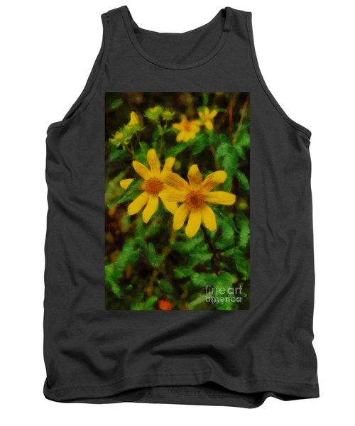 Sixteen Petals  Two Yellow Wildflowers Tank Top by Michael Flood
