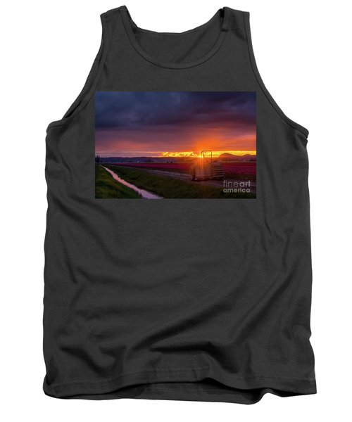 Tank Top featuring the photograph Skagit Valley Tractor Sunstar by Mike Reid