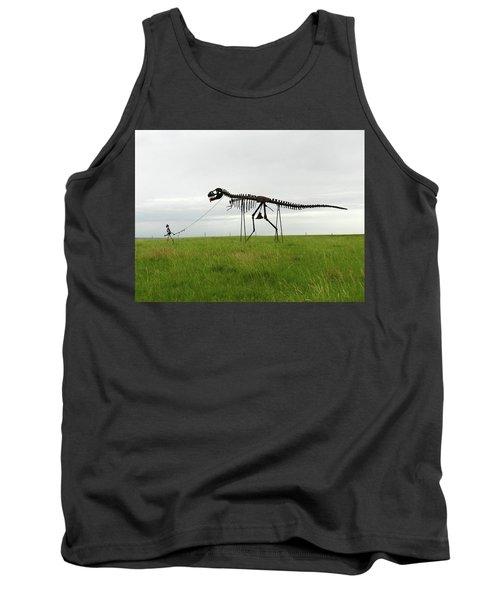 Skeletal Man Walking His Dinosaur Statue Tank Top