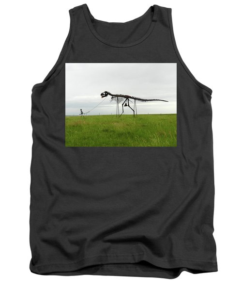 Skeletal Man Walking His Dinosaur Statue Tank Top