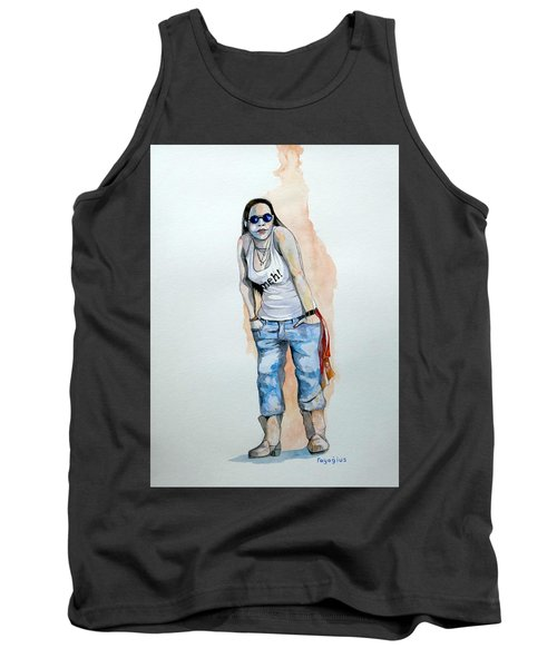 Tank Top featuring the painting Sketch For Meh by Ray Agius