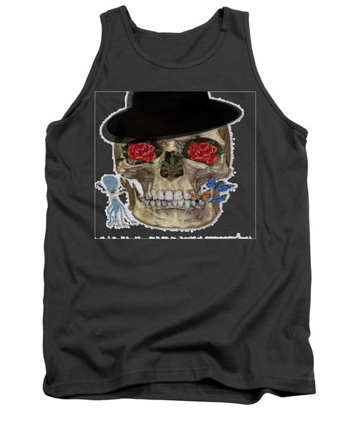 Skull In A Hat With Roses Tank Top