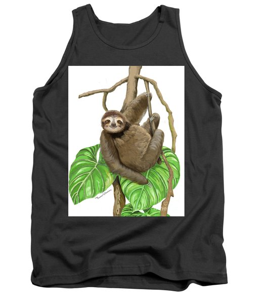 Tank Top featuring the mixed media Hanging Three Toe Sloth  by Thomas J Herring