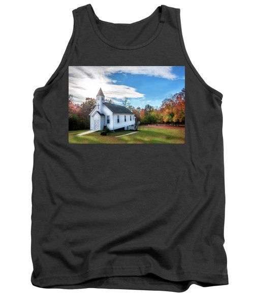 Small Wooden Church In The Countryside During Autumn Tank Top