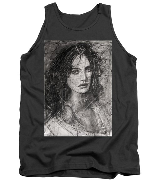 Tank Top featuring the painting Smoky Noir... Ode To Paolo Roversi And Natalia Vodianova  by Jarko Aka Lui Grande