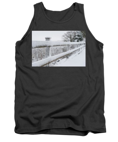 Snow Covered Fence Tank Top by Helen Northcott