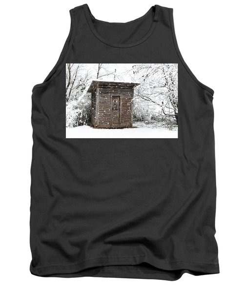 Snow Covered Outhouse Tank Top