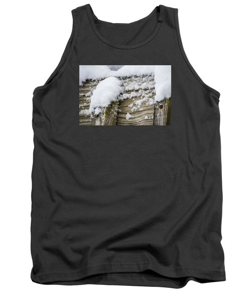 Snow Fluff And Woodgrain Tank Top by Deborah Smolinske