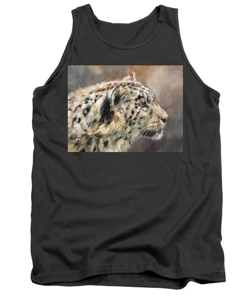 Tank Top featuring the painting Snow Leopard Study by David Stribbling