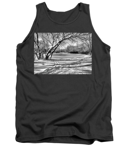 Snow Scripting Tank Top by Betsy Zimmerli