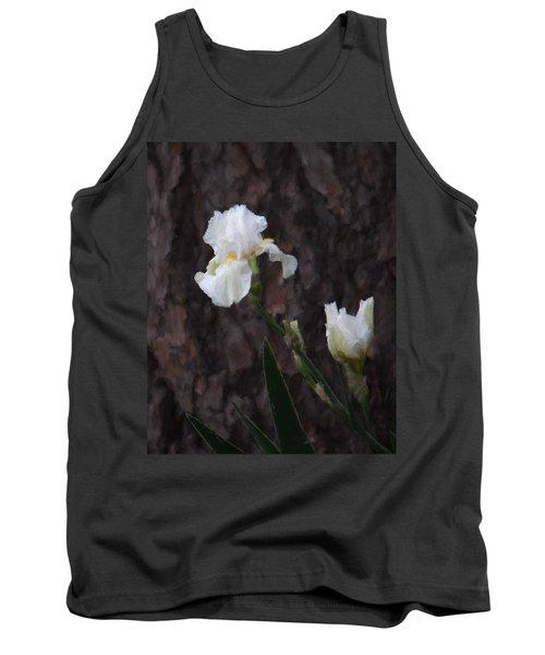 Snow White Iris On Pine Tank Top