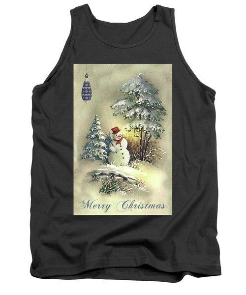 Tank Top featuring the digital art Snowman Christmas Card by Greg Sharpe