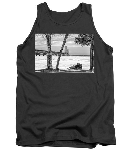 Tank Top featuring the photograph Snowmobile Michigan Black And White  by John McGraw