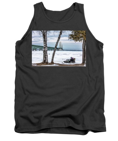 Tank Top featuring the photograph Snowmobile Michigan  by John McGraw
