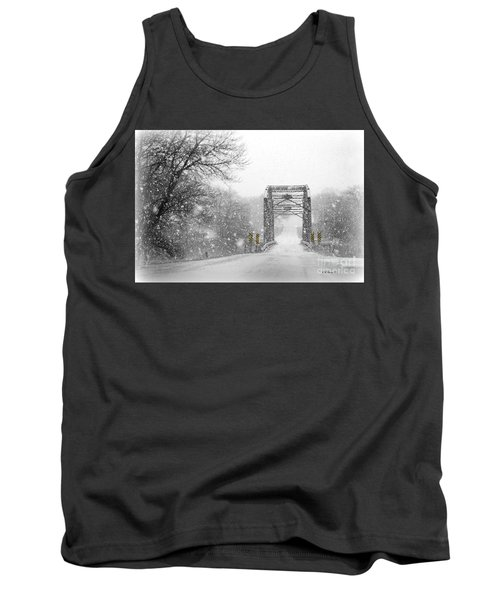 Snowy Day And One Lane Bridge Tank Top by Kathy M Krause