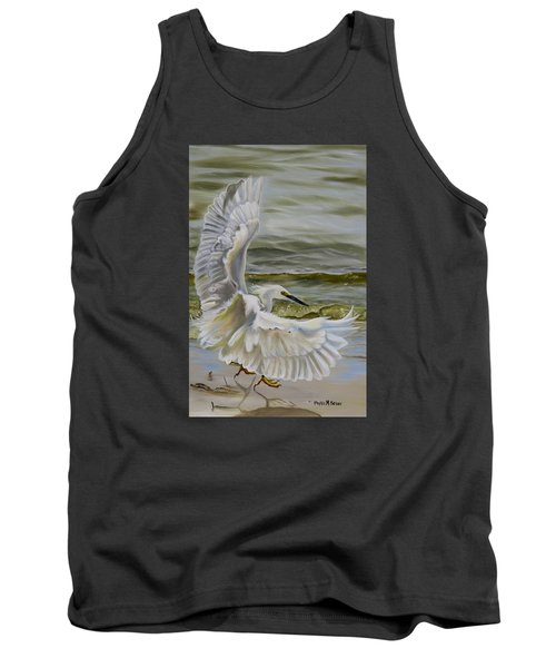 Snowy Egret Landing On The Shore Tank Top by Phyllis Beiser