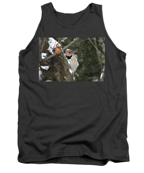 Snowy Northern Flicker Tank Top by Trina Ansel